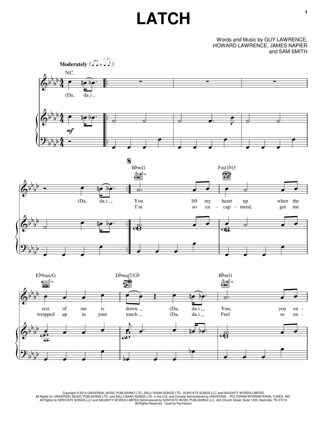 Partition piano Latch (feat. Sam Smith) de Disclosure - Piano Voix Guitare (Mélodie Main Droite)