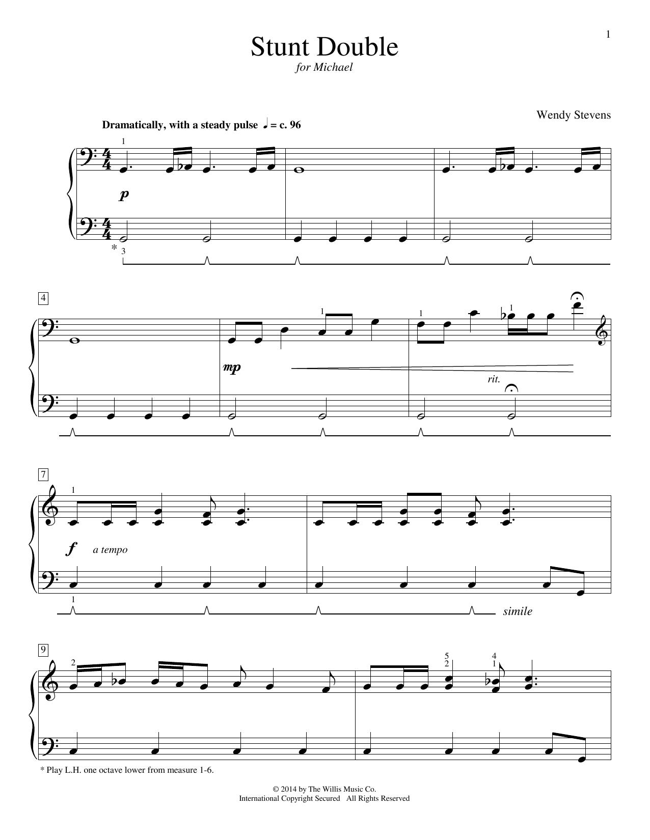 Partition piano Stunt Double de Wendy Stevens - Piano Facile