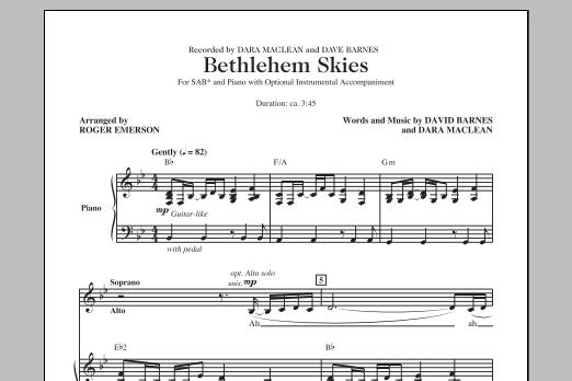 Partition chorale Bethlehem Skies (arr. Roger Emerson) de  - SAB