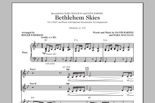 Partition chorale Bethlehem Skies (arr. Roger Emerson) de  - 2 voix