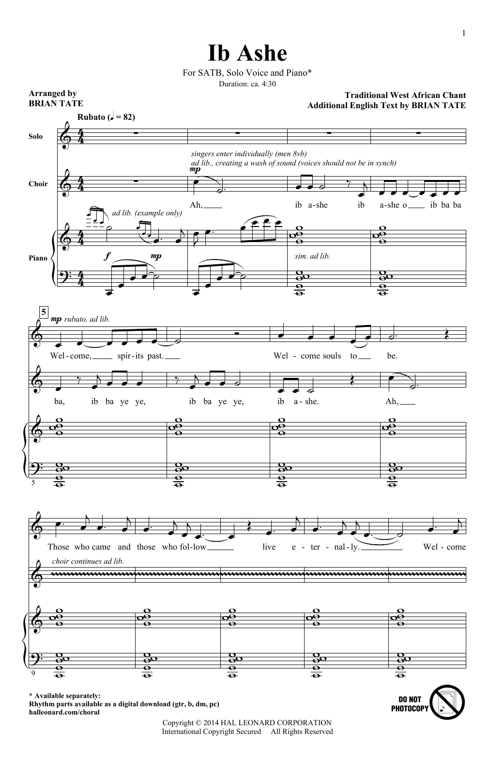 Partition chorale Ib Ashe (arr. Brian Tate) de Traditional - SATB