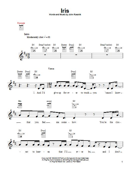 Tablature guitare Iris de Goo Goo Dolls - Ukulele