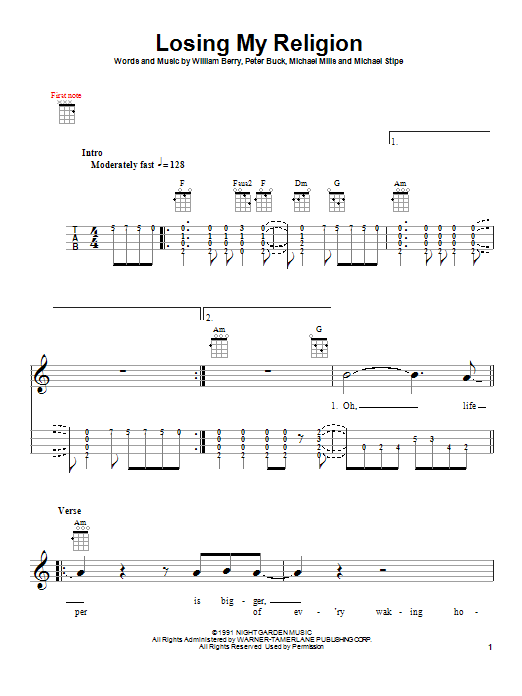Mandolin u00bb Mandolin Chords To Losing My Religion - Music Sheets, Tablature, Chords and Lyrics