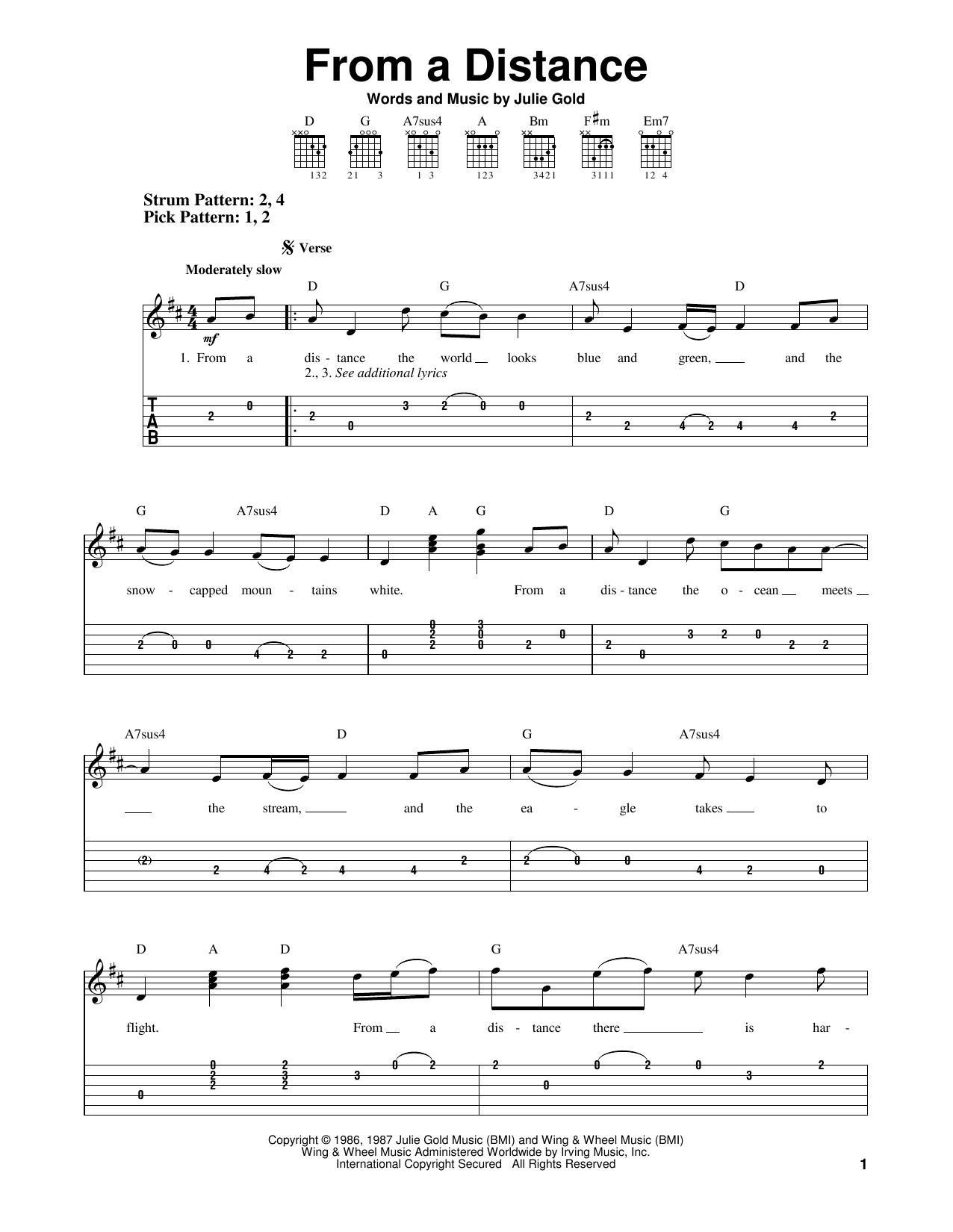Tablature guitare From A Distance de Bette Midler - Tablature guitare facile