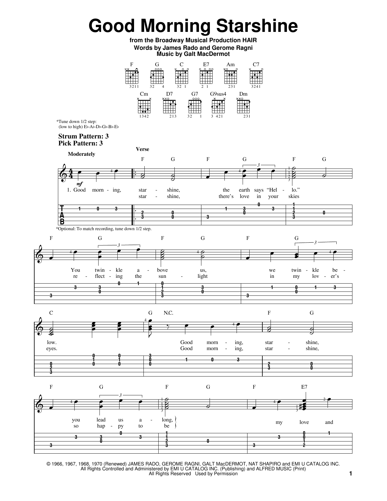 Tablature guitare Good Morning Starshine de Oliver - Tablature guitare facile