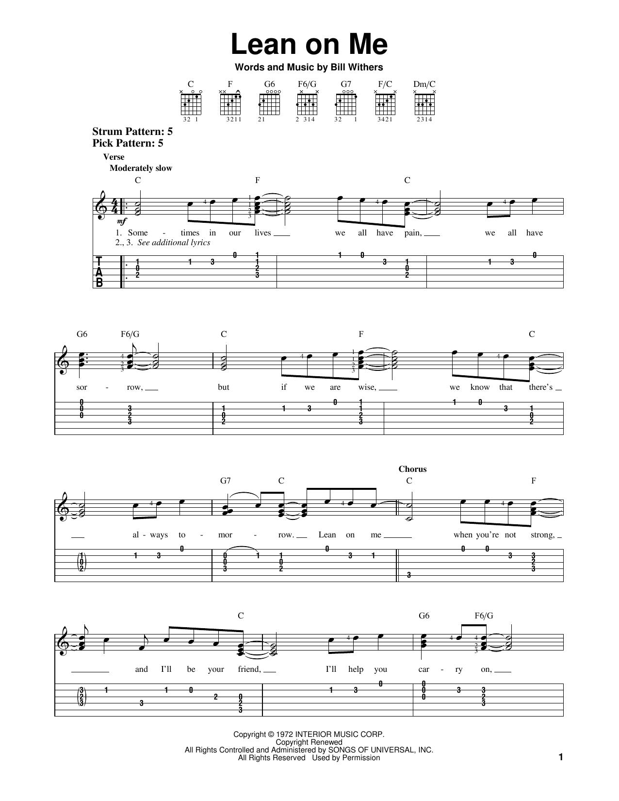 Tablature guitare Lean On Me de Bill Withers - Tablature guitare facile