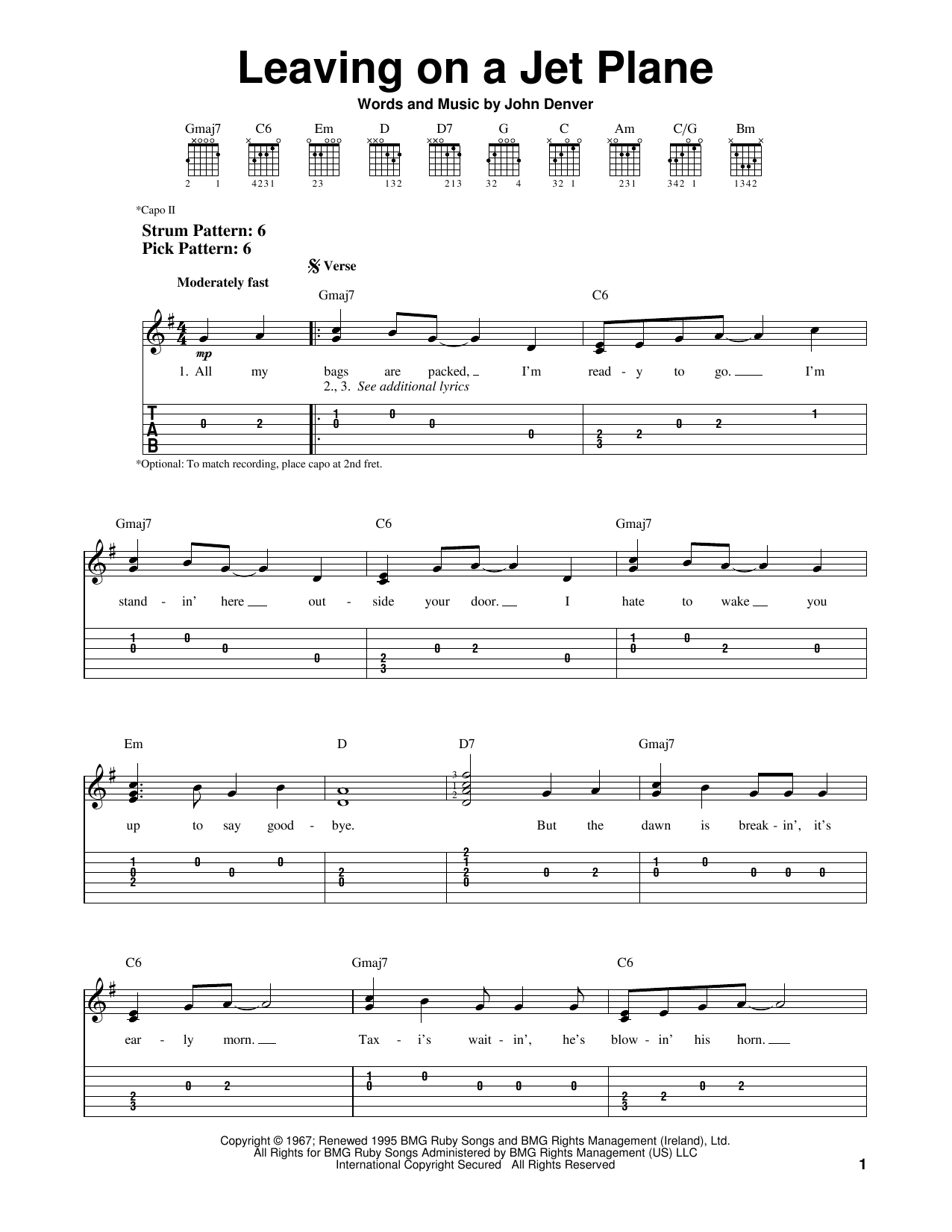 Tablature guitare Leaving On A Jet Plane de John Denver - Tablature guitare facile