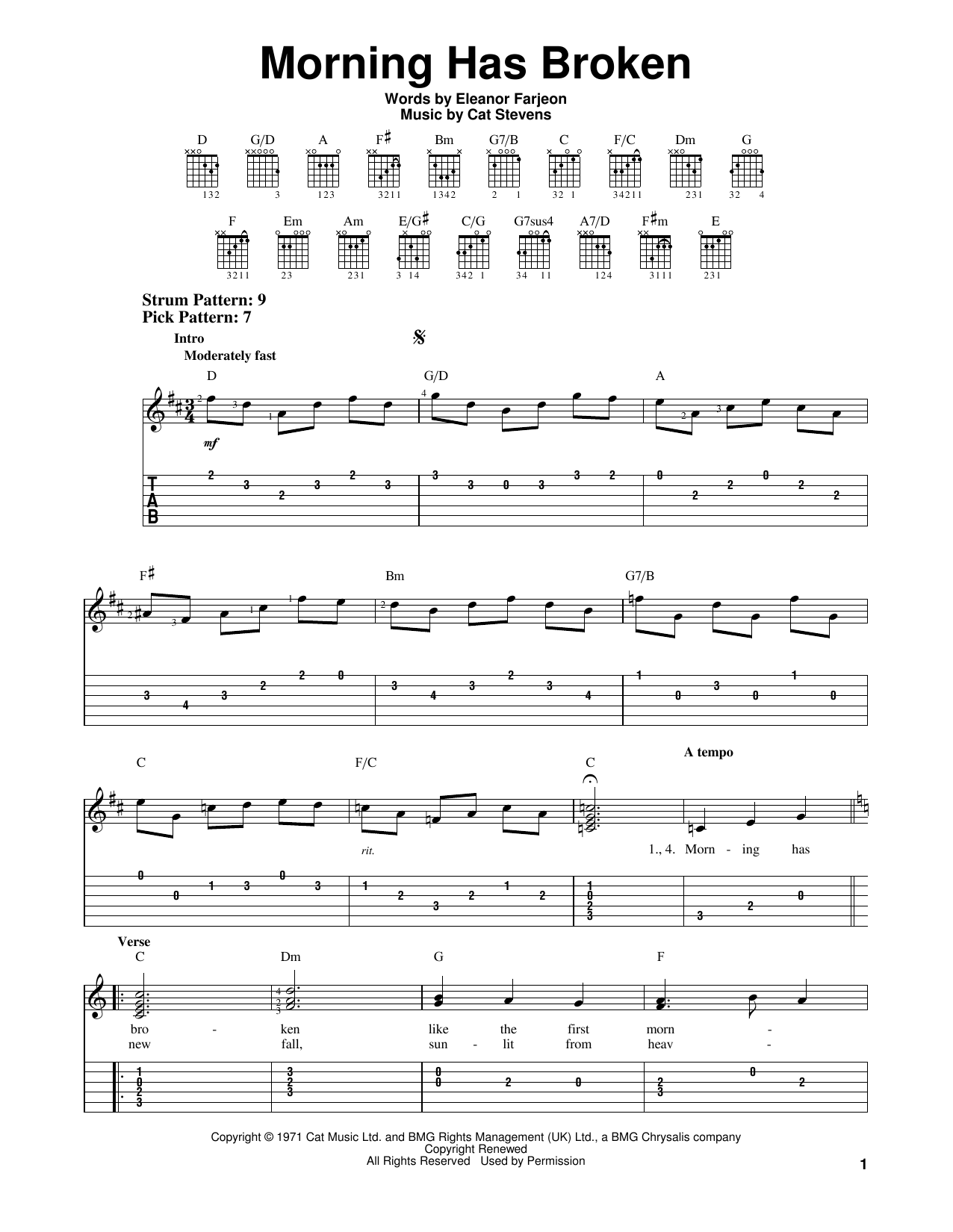 Tablature guitare Morning Has Broken de Cat Stevens - Tablature guitare facile