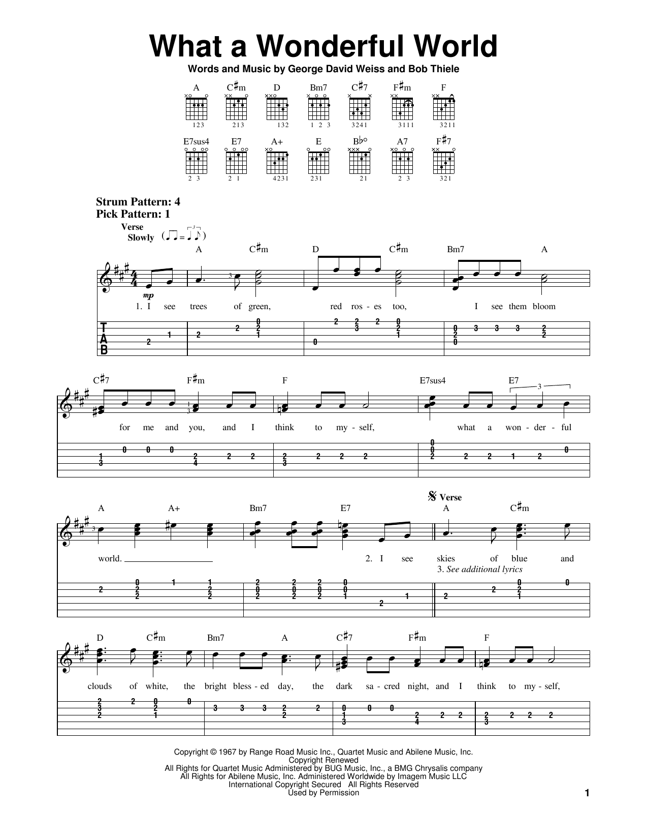 Tablature guitare What A Wonderful World de Louis Armstrong - Tablature guitare facile