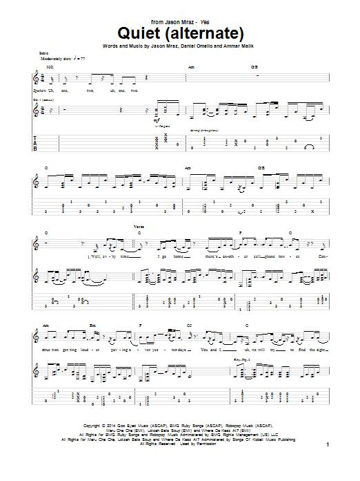 Tablature guitare Quiet (alternate) de Jason Mraz - Tablature Guitare