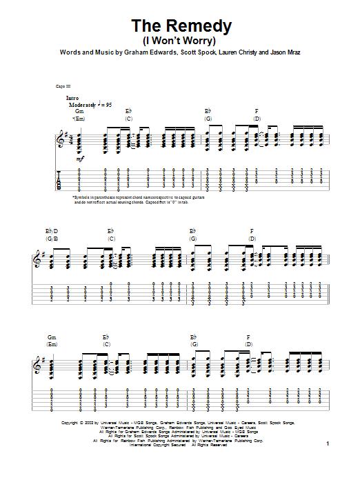 Tablature guitare The Remedy (I Won't Worry) de Jason Mraz - Tablature Guitare