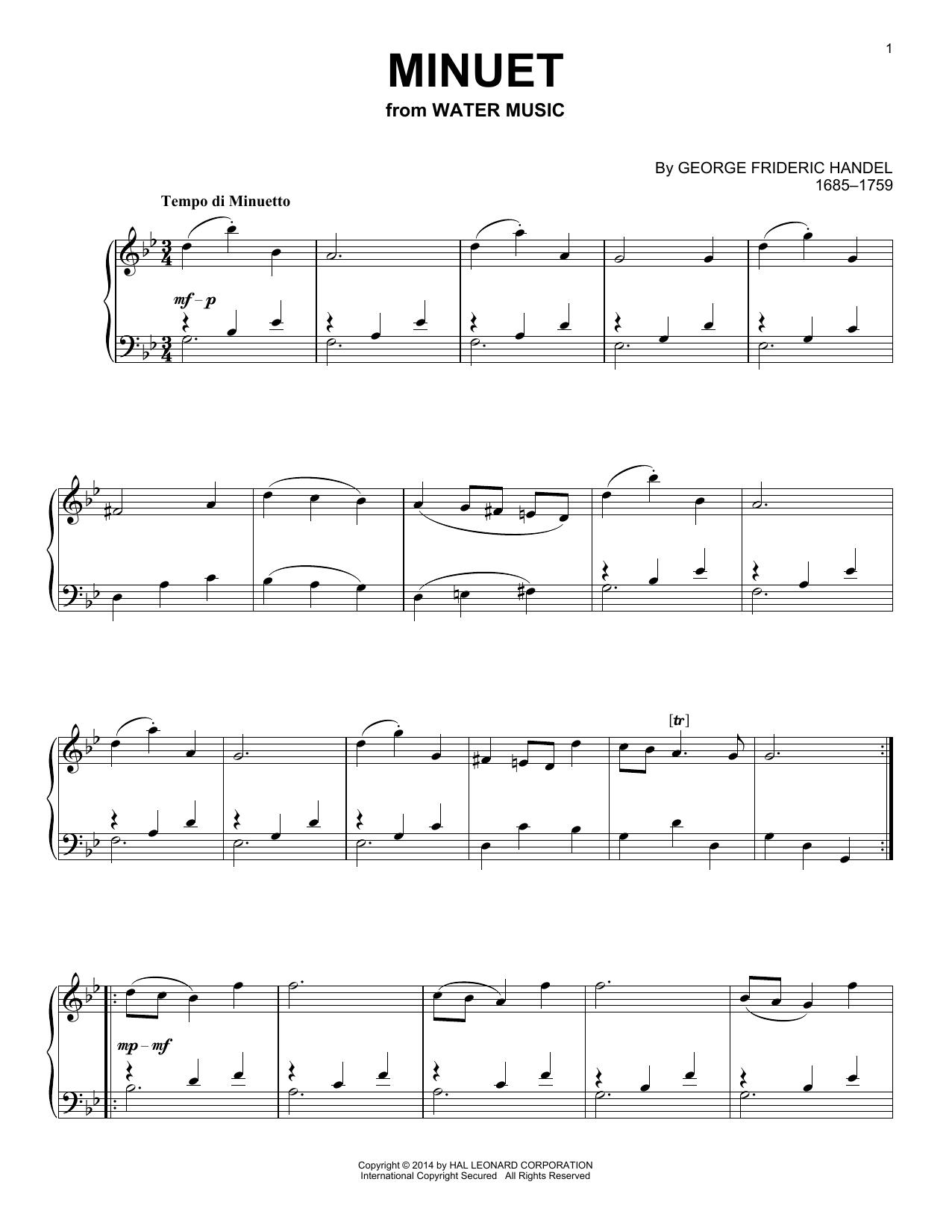 Partition piano Minuet de George Frideric Handel - Piano Solo