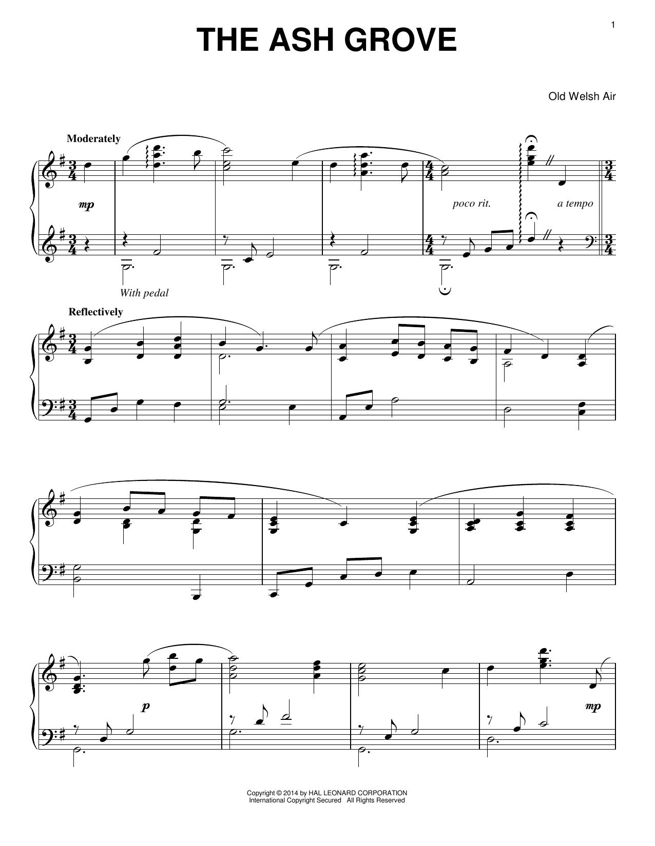 Partition piano The Ash Grove de Traditional - Piano Solo