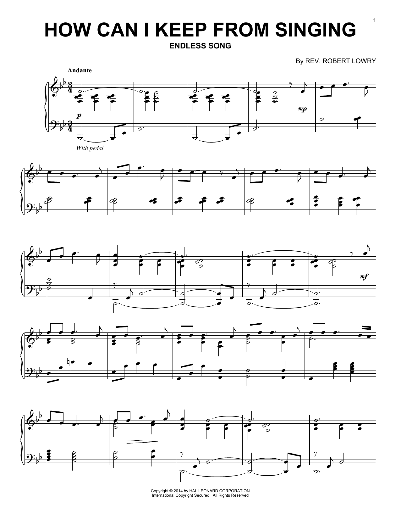 Partition piano How Can I Keep From Singing de Robert Lowry - Piano Solo