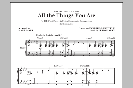 Partition chorale All The Things You Are (arr. Mark Hayes) de Jerome Kern - TTBB