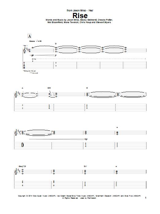 Tablature guitare Rise de Jason Mraz - Tablature Guitare