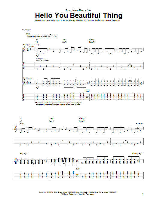 Tablature guitare Hello You Beautiful Thing de Jason Mraz - Tablature Guitare