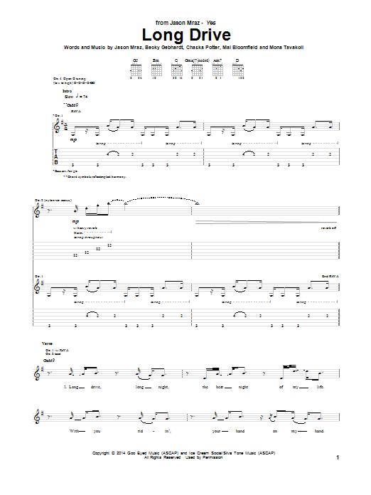 Tablature guitare Long Drive de Jason Mraz - Tablature Guitare