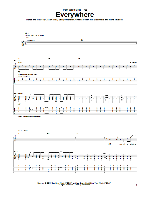 Tablature guitare Everywhere de Jason Mraz - Tablature Guitare