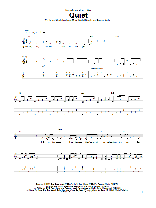 Tablature guitare Quiet de Jason Mraz - Tablature Guitare