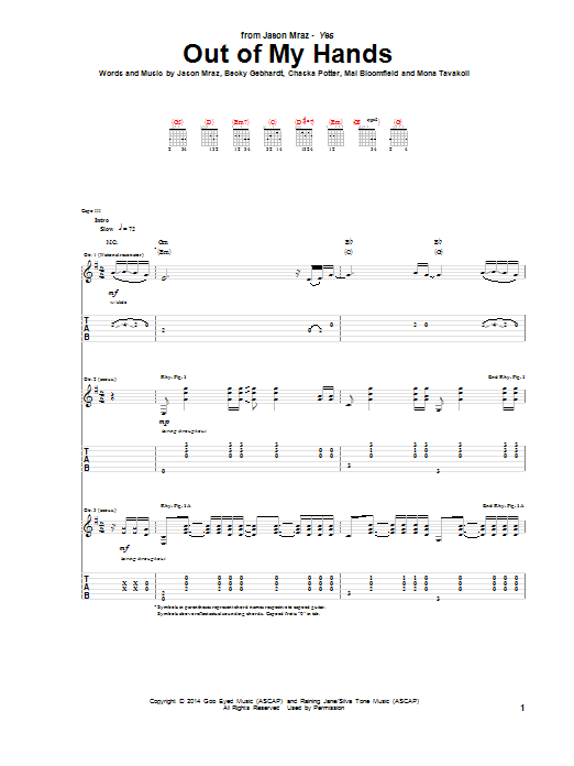 Tablature guitare Out Of My Hands de Jason Mraz - Tablature Guitare
