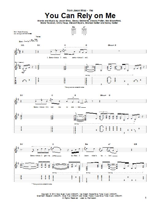 Tablature guitare You Can Rely On Me de Jason Mraz - Tablature Guitare