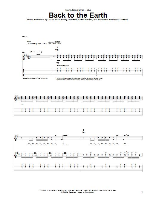 Tablature guitare Back To The Earth de Jason Mraz - Tablature Guitare