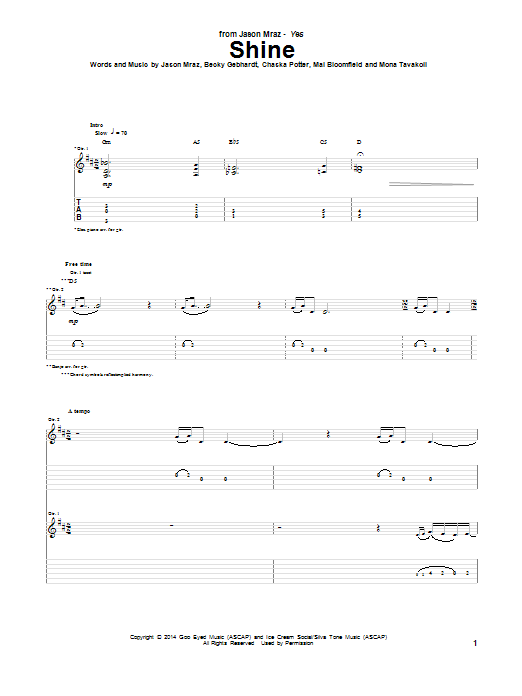 Tablature guitare Shine de Jason Mraz - Tablature Guitare