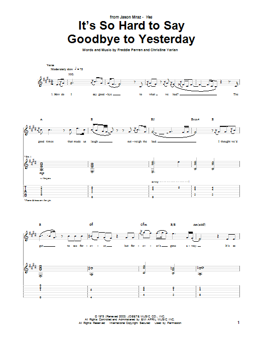 Tablature guitare It's So Hard To Say Goodbye To Yesterday de Jason Mraz - Tablature Guitare