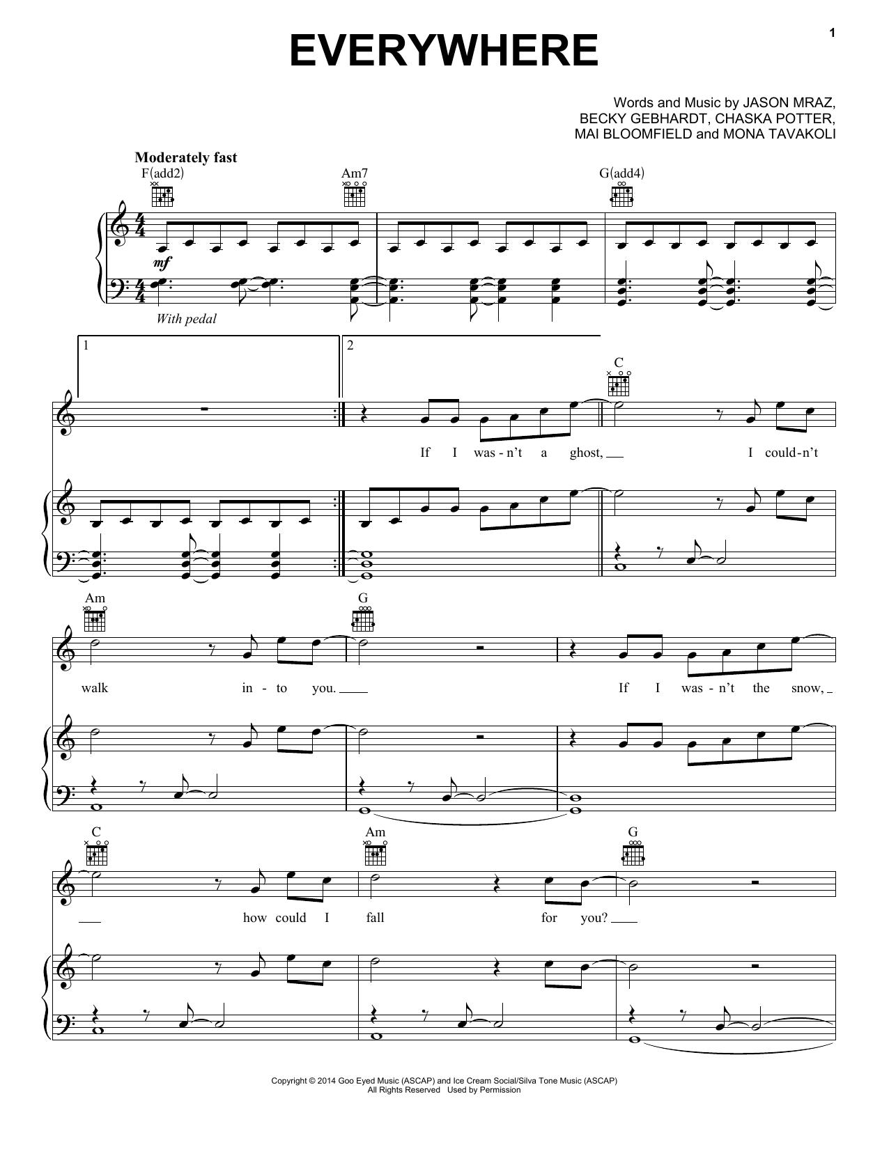 Partition piano Everywhere de Jason Mraz - Piano Voix Guitare (Mélodie Main Droite)