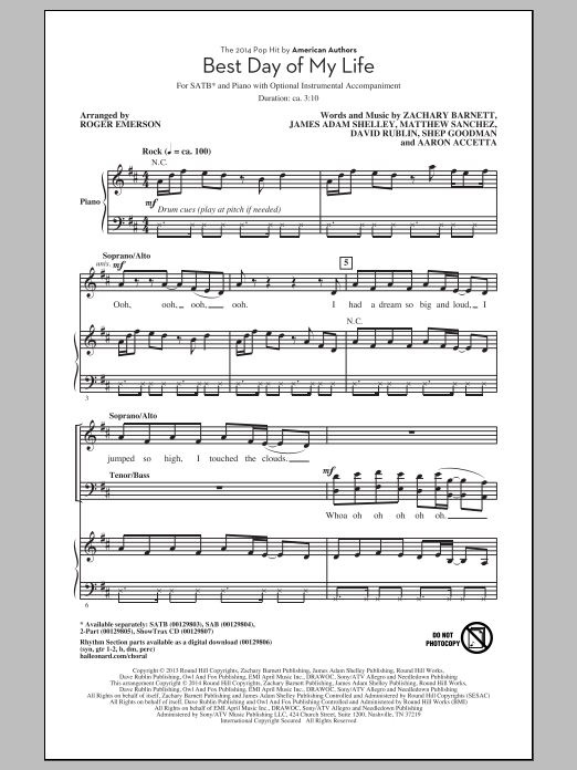 Partition chorale Best Day Of My Life (arr. Roger Emerson) de American Authors - SATB
