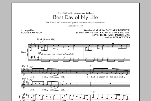 Partition chorale Best Day Of My Life (arr. Roger Emerson) de American Authors - 2 voix