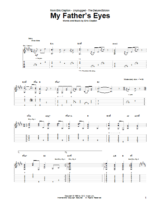 Tablature guitare My Father's Eyes de Eric Clapton - Tablature Guitare