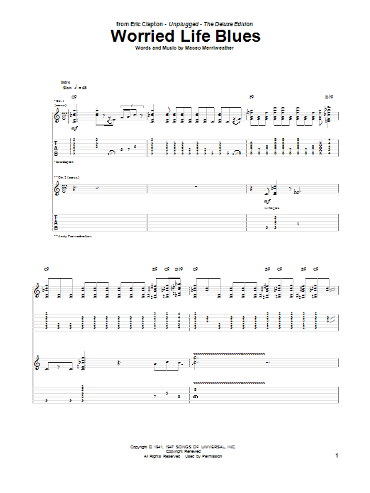 Tablature guitare Worried Life Blues de Eric Clapton - Tablature Guitare