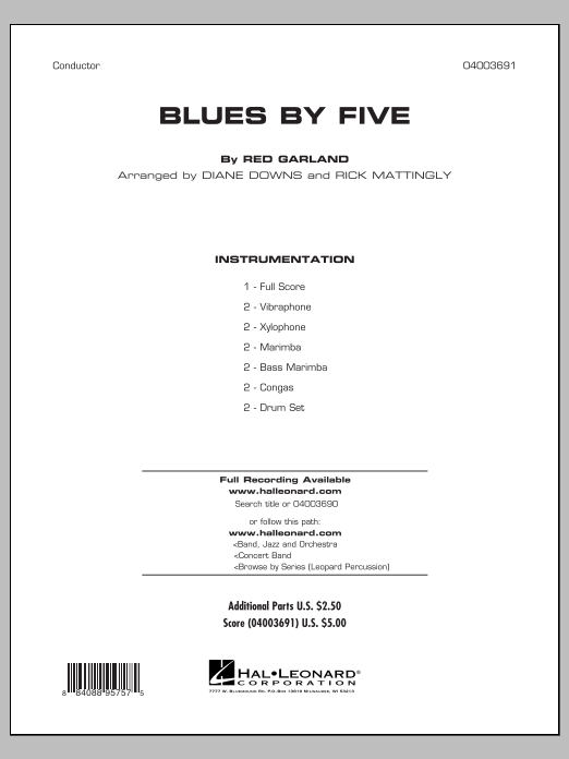 Blues By Five (COMPLETE) sheet music for concert band by Red Garland