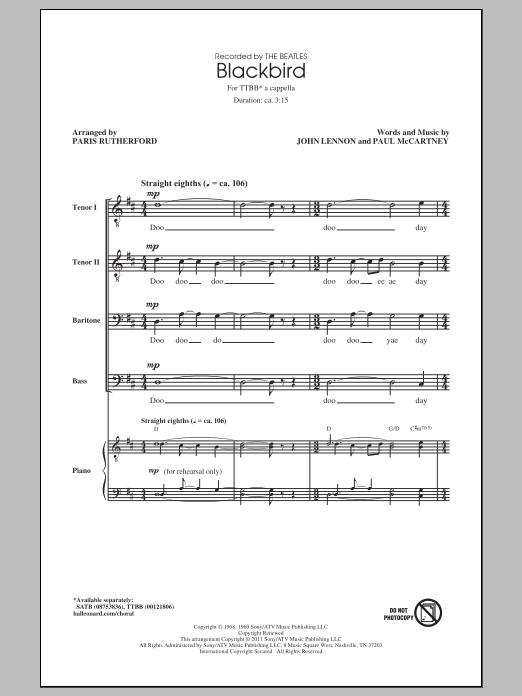 Partition chorale Blackbird (arr. Paris Rutherford) de The Beatles - TTBB