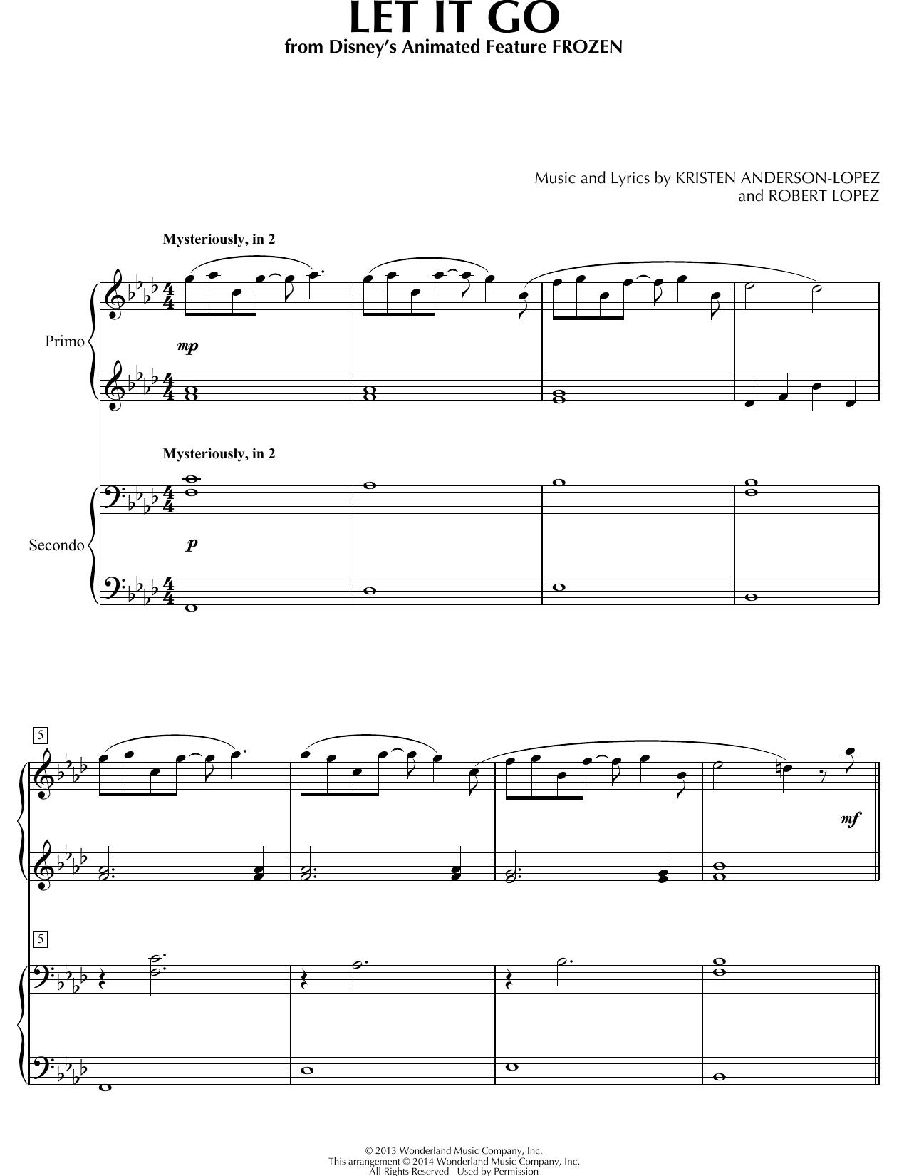 Partition piano Let It Go de Idina Menzel - 4 mains