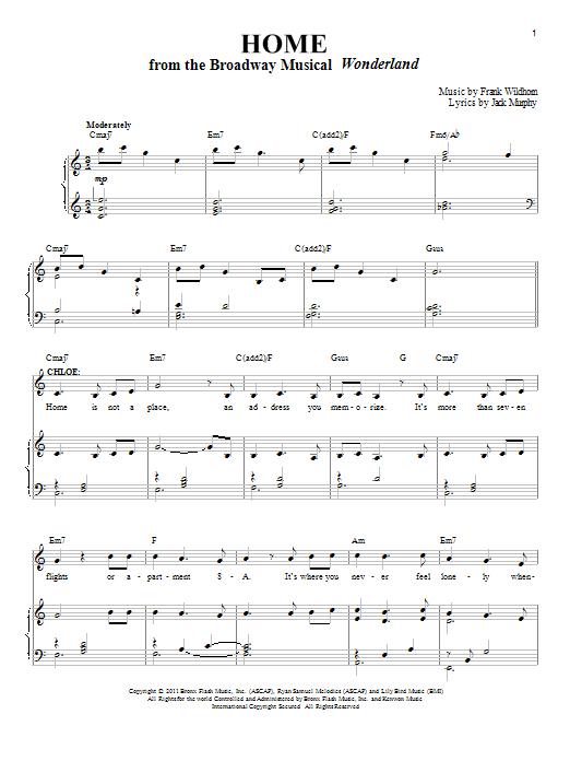 Partition piano Home de Frank Wildhorn - Piano Voix
