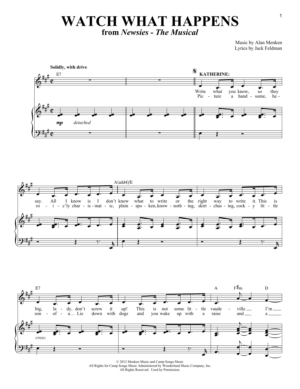 Partition piano Watch What Happens (from Newsies - The Musical) de Alan Menken - Piano Voix