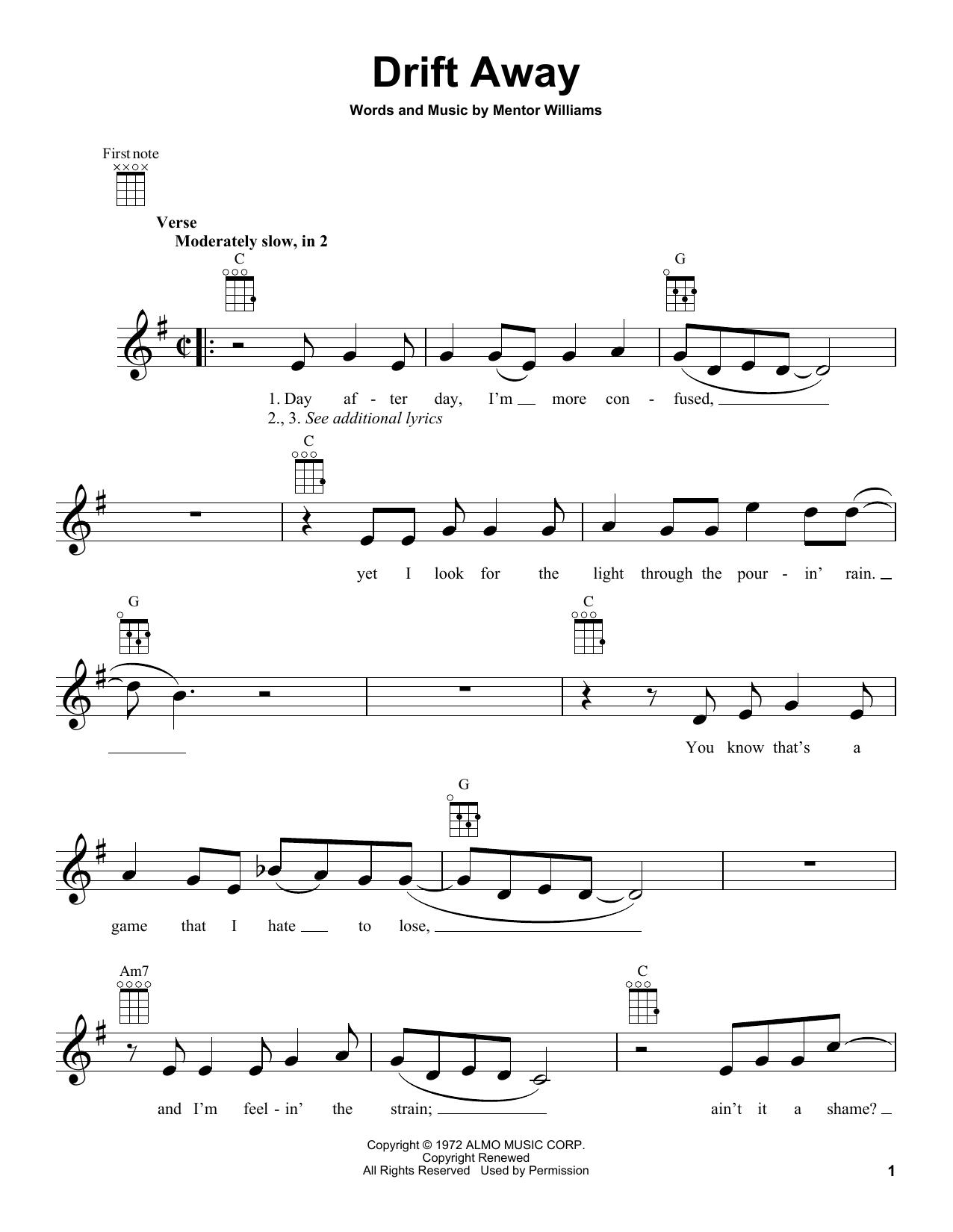 Tablature guitare Drift Away (feat. Dobie Gray) de Uncle Kracker - Ukulele