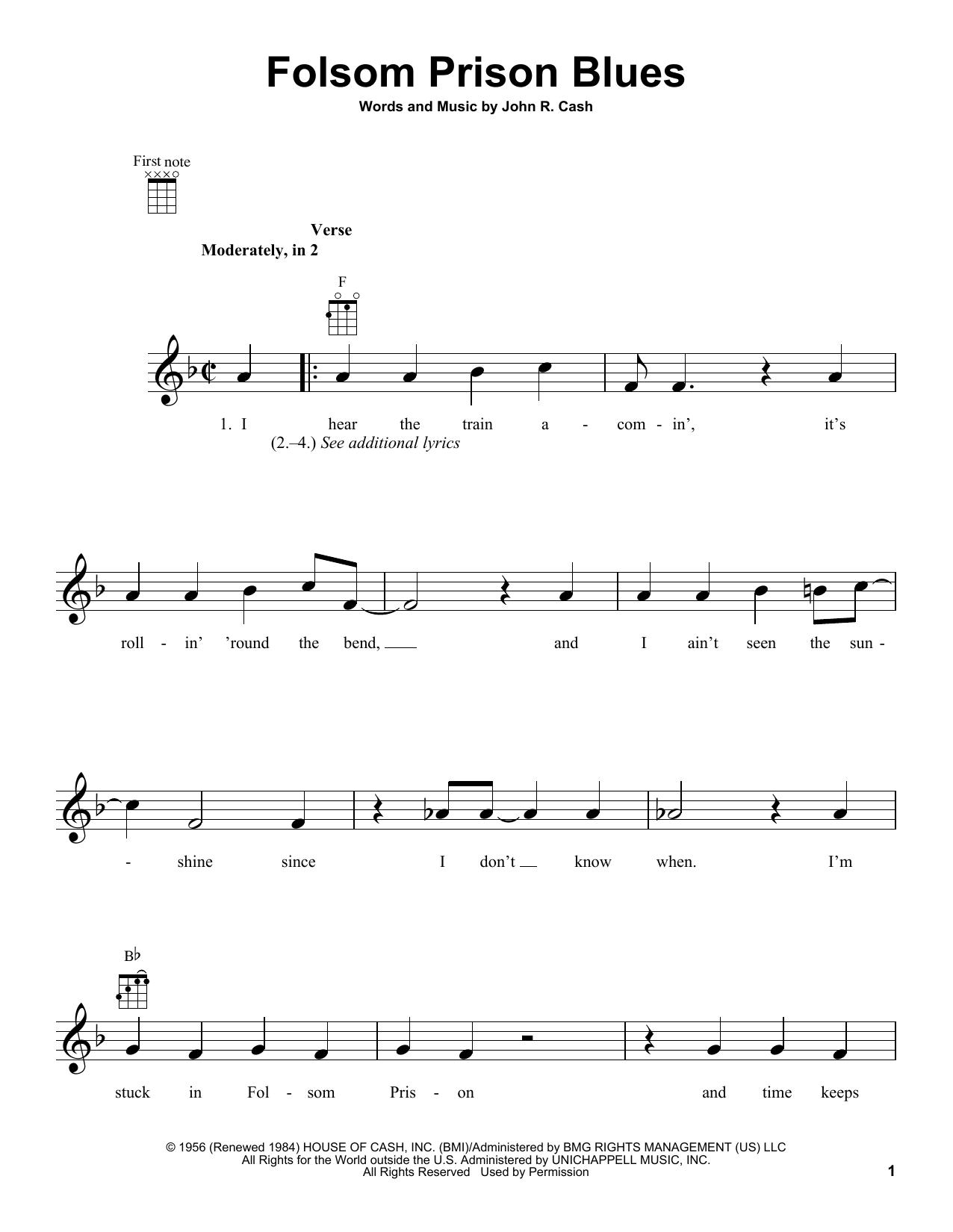 Tablature guitare Folsom Prison Blues de Johnny Cash - Ukulele