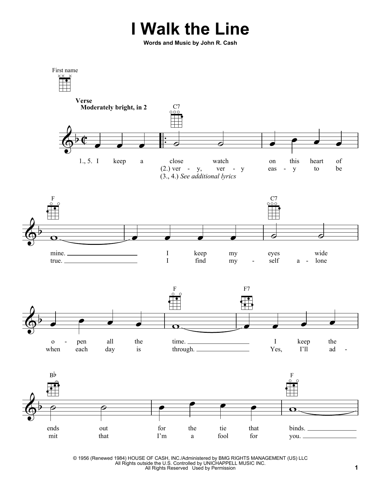 Tablature guitare I Walk The Line de Johnny Cash - Ukulele