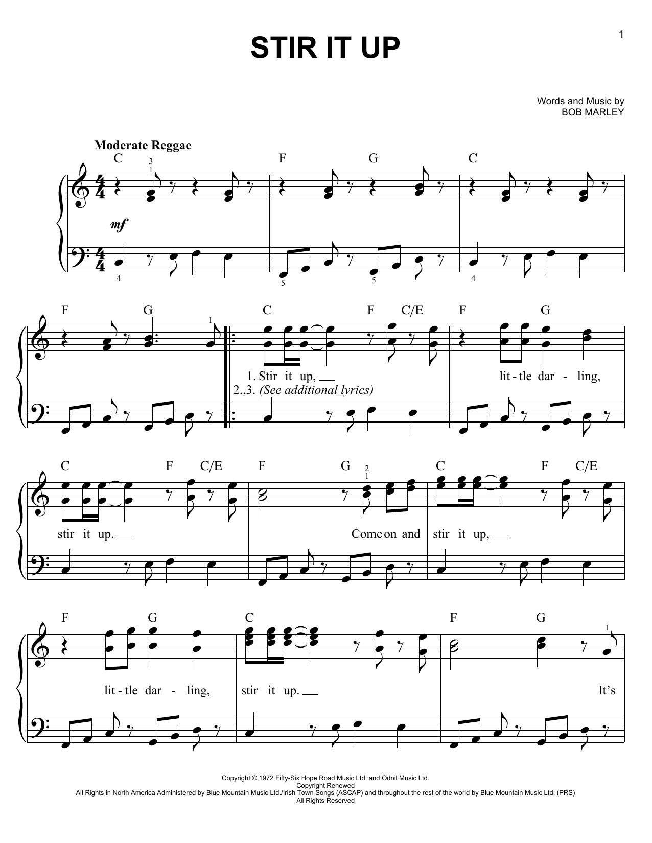 Partition piano Stir It Up de Bob Marley - Piano Facile