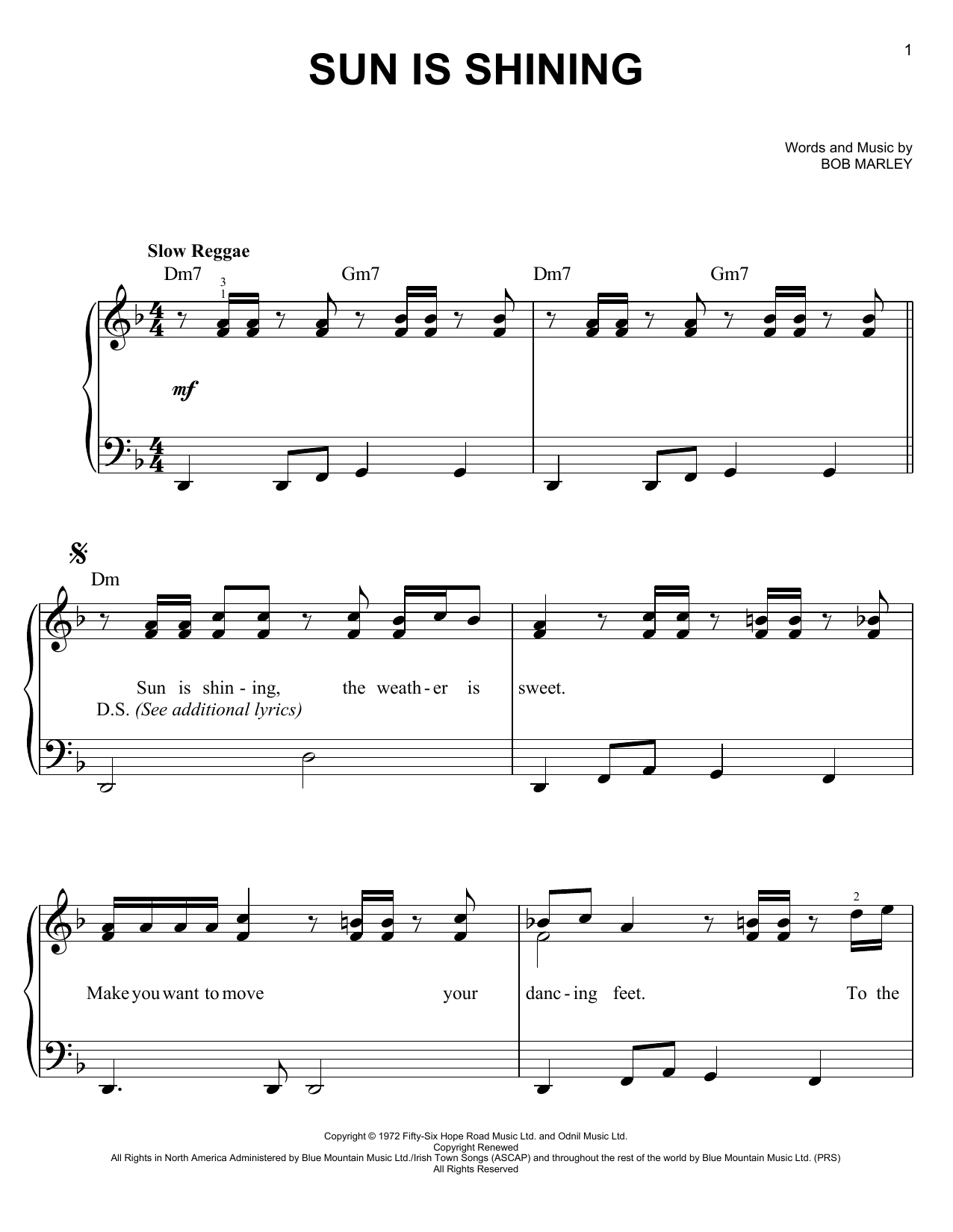Partition piano Sun Is Shining de Bob Marley - Piano Facile