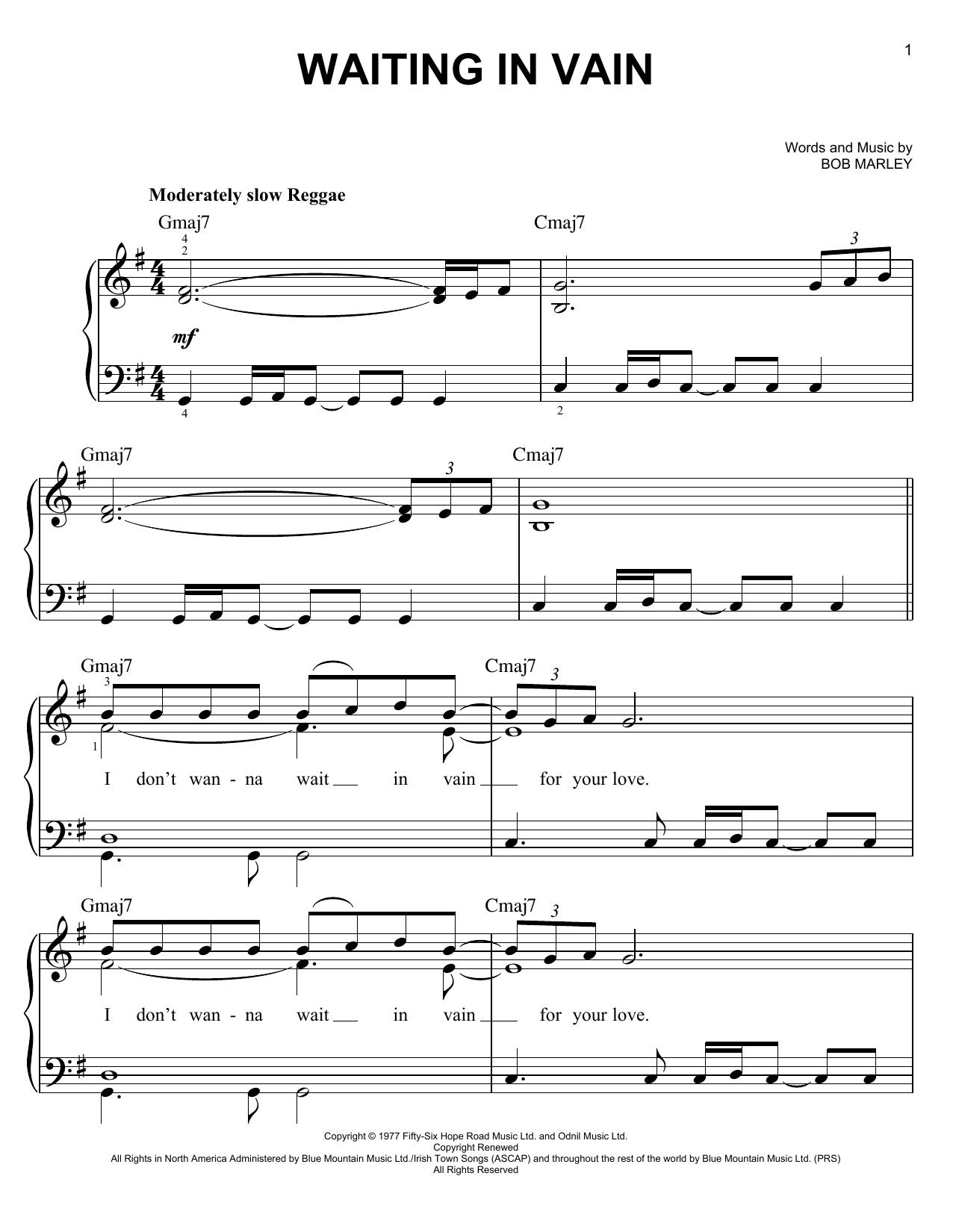 Partition piano Waiting In Vain de Bob Marley - Piano Facile