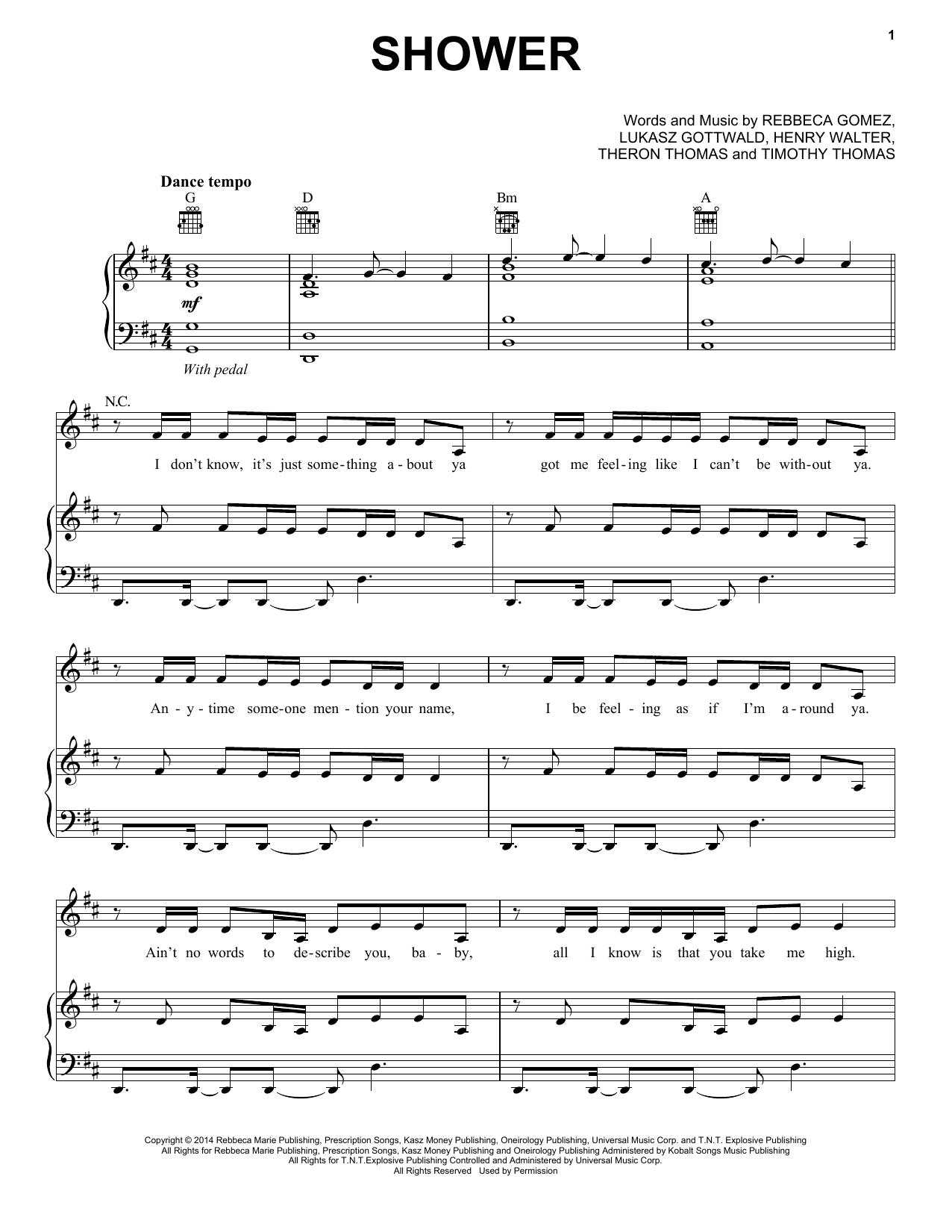 Partition piano Shower de Becky G - Piano Voix Guitare (Mélodie Main Droite)