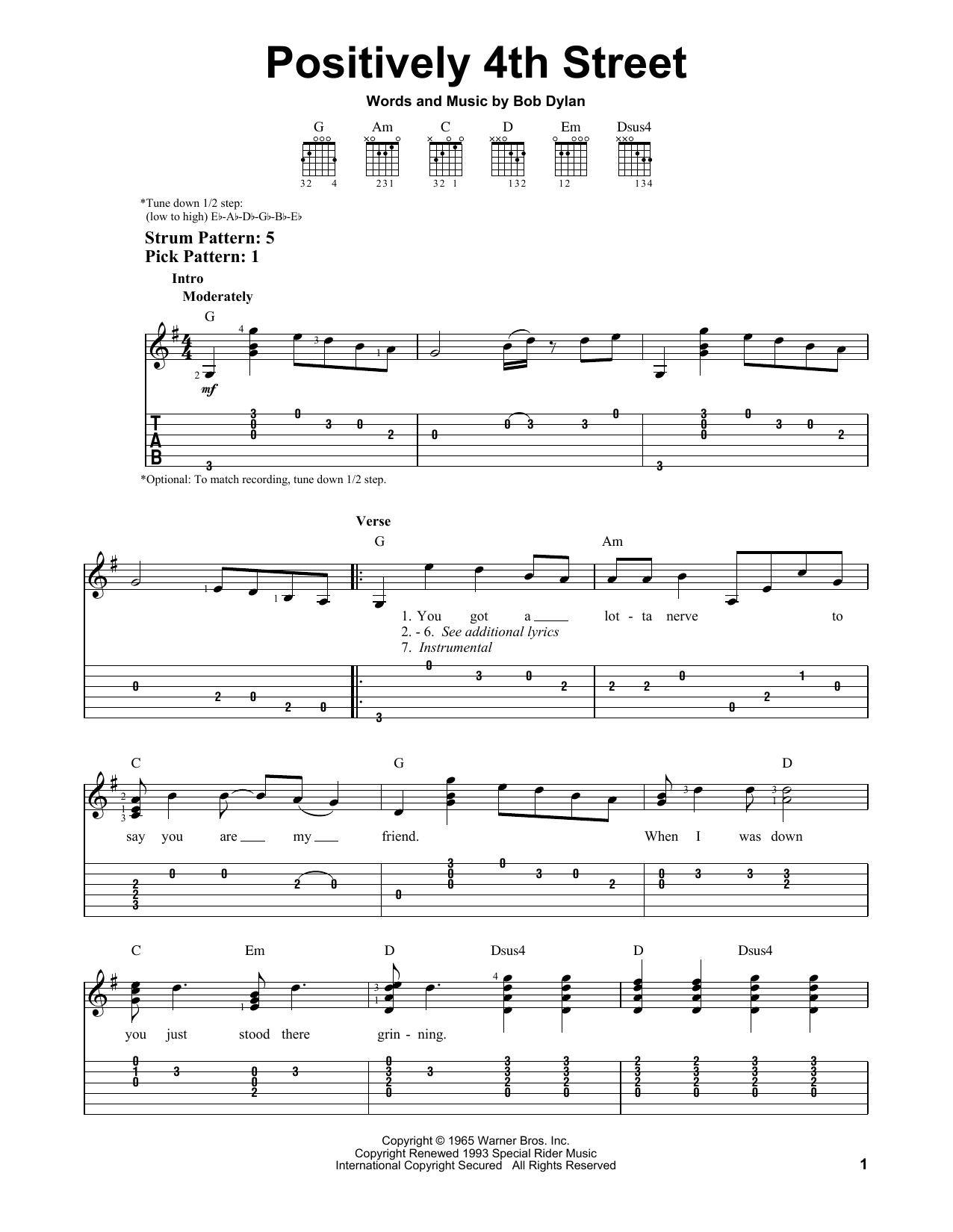 Tablature guitare Positively 4th Street de Bob Dylan - Tablature guitare facile