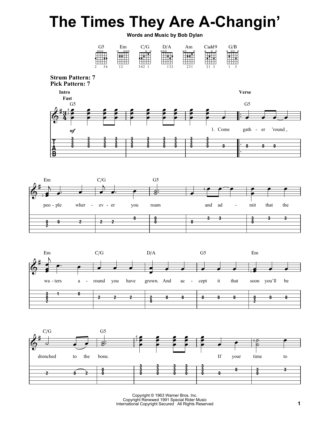 Tablature guitare The Times They Are A-Changin' de Bob Dylan - Tablature guitare facile