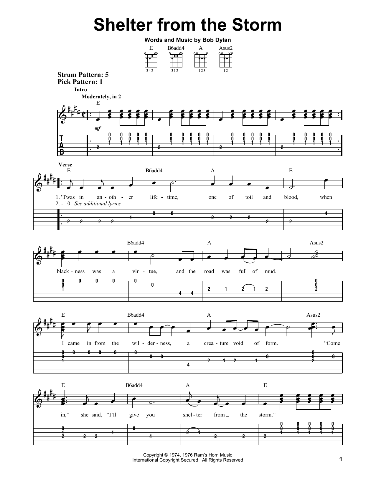 Tablature guitare Shelter From The Storm de Bob Dylan - Tablature guitare facile
