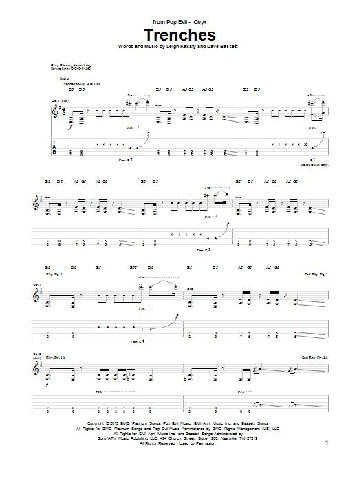 Tablature guitare Trenches de Pop Evil - Tablature Guitare
